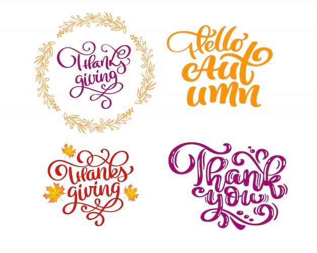 Zestaw fraz kaligrafii na jesień.