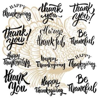 Zestaw fraz literowych na święto dziękczynienia. ilustracja turcji. elementy plakatu, karty z pozdrowieniami, plakatu. ilustracja