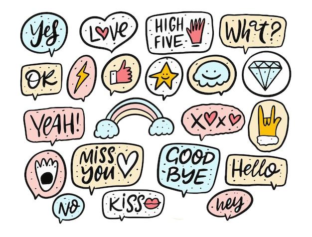 Zestaw fraz odręcznych doodles