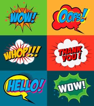 Zestaw fraz stylu komiksowego na kolorowe tło. zestaw fraz w stylu pop-art. element plakatu, ulotki. element projektu.