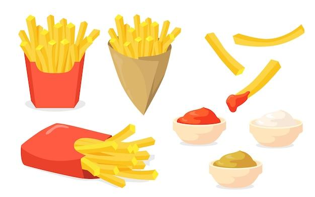 Zestaw frytek. paluszki ziemniaczane w papierowe szyszki, keczup, majonez, sosy musztardowe na białym tle