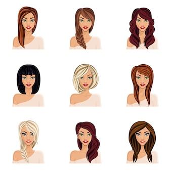 Zestaw fryzur dla dziewcząt, stwórz swojego awatara, młoda kobieta. fryzury na długie włosy na białym tle. szyja twarzy, oczu, warg.