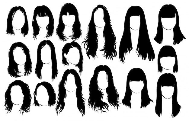 Zestaw fryzur dla kobiet. kolekcja czarnych sylwetek fryzur dla dziewcząt.