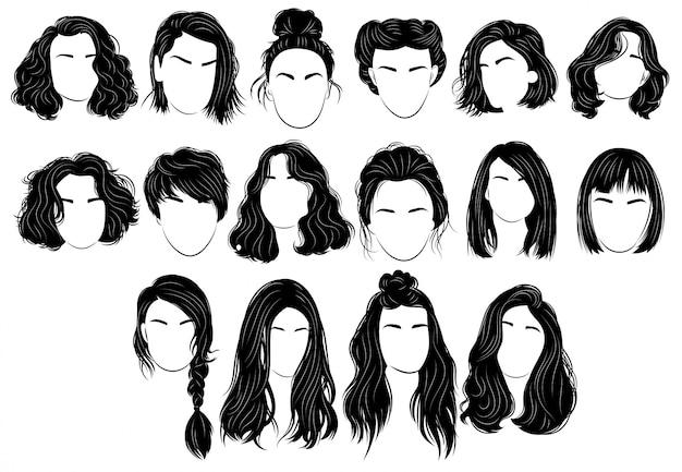 Zestaw fryzur dla kobiet. kolekcja czarnych sylwetek fryzur
