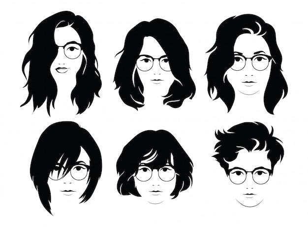 Zestaw fryzur dla kobiet w okularach. kolekcja sylwetki fryzur dla dziewcząt.