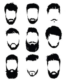 Zestaw fryzur dla mężczyzn. kolekcja czarne sylwetki fryzur i brody.