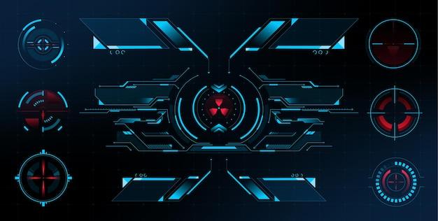 Zestaw futurystycznego statku kosmicznego scifi hud futurystyczny celownik