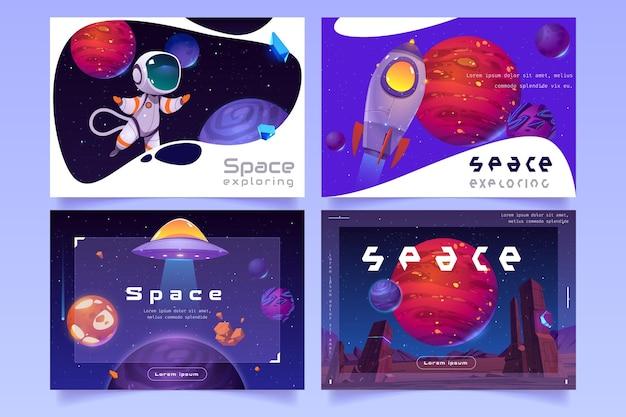 Zestaw futurystycznego szablonu internetowego z obcymi planetami, rakietą, statkiem kosmicznym ufo i astronautą