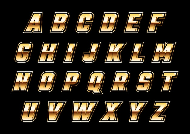 Zestaw futurystyczny alfabetów 3d złoty metalik