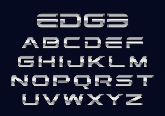 Zestaw futurystycznych alfabetów 3d chrome