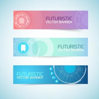 Zestaw futurystycznych banerów