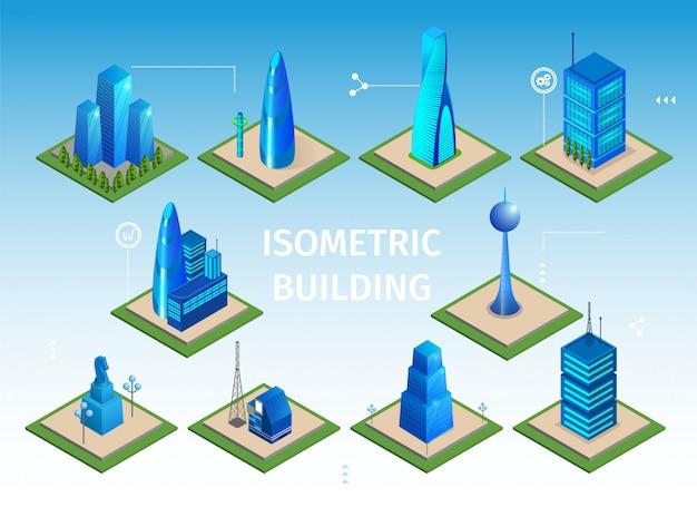 Zestaw futurystycznych budynków. inteligentne obiekty 3d miasta