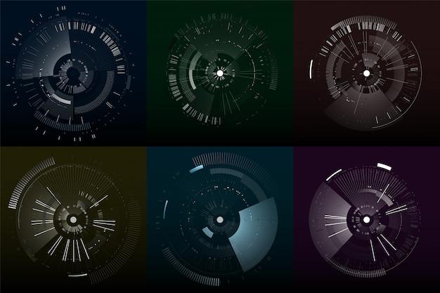 Zestaw futurystycznych elementów interfejsu. koła technologiczne. cyfrowe futurystyczne interfejsy użytkownika.