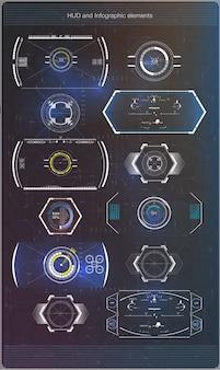 Zestaw futurystycznych niebieskich infografik jako wyświetlacza head-up.