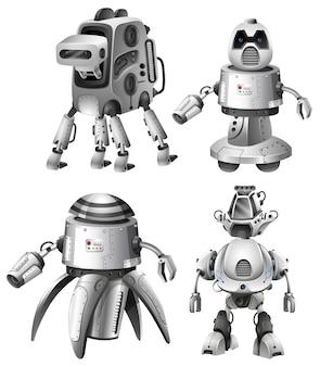 Zestaw futurystycznych robotów na białym tle