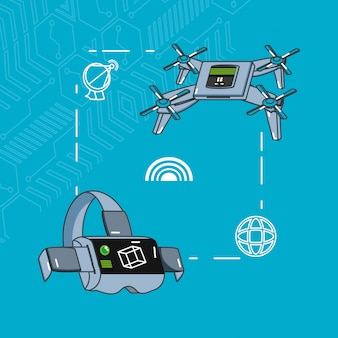 Zestaw gadżetów z technologią dronów