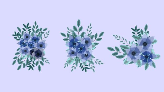 Zestaw gałązek kwiatowych kolorowe kwiaty układania bukiet ślubny