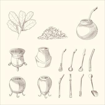 Zestaw gałęzi herbaty yerba mate, tykwy i bombilli