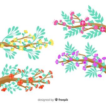 Zestaw gałęzi i kolorowych kwiatów