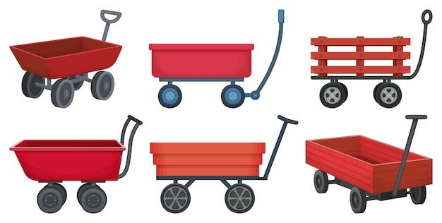 Zestaw garden wagon na białym tle