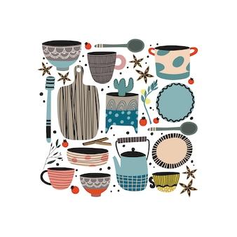 Zestaw garnków i ceramiki