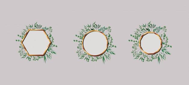 Zestaw geometrics złotych ramek i liści