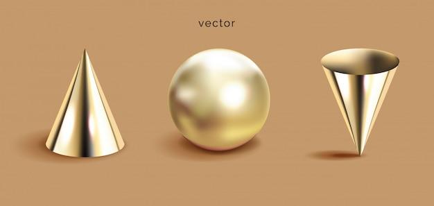 Zestaw geometryczne kształty 3d, brązowe tło.