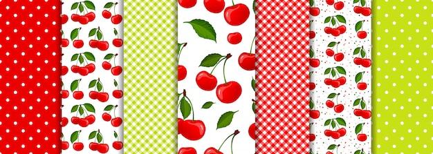 Zestaw geometryczne wzory wiśni jagód i wiosna