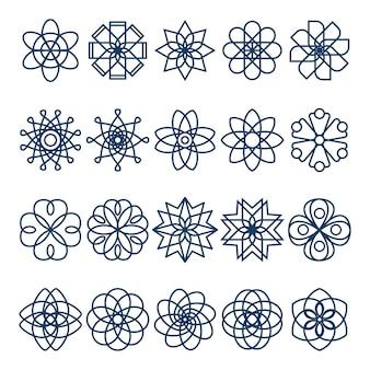 Zestaw geometrycznej ikony kwiatu, geometryczne symbole grafika liniowa