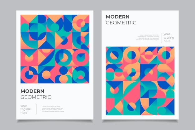 Zestaw geometryczny kolorowych okładek biznesowych