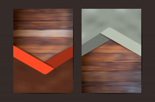 Zestaw geometryczny okładka tekstury drewna