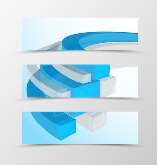 Zestaw geometryczny projekt nagłówka banner z 3d niebieskimi i szarymi liniami w stylu technologicznym.