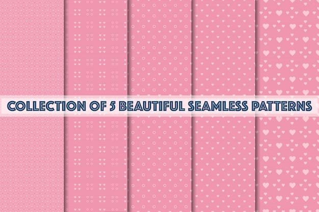 Zestaw geometryczny różowe wzory bez szwu