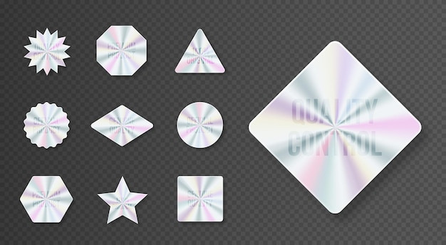 Zestaw geometrycznych etykiet z hologramem wektor ilustracja płaski element wektora gwarancji produktu