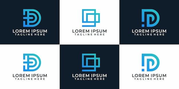 Zestaw geometrycznych inspirujących abstrakcyjnych elementów projektu logo litery d
