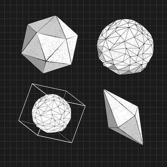 Zestaw geometrycznych kształtów 3d