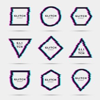Zestaw geometrycznych kształtów glitch