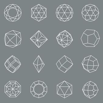 Zestaw geometrycznych kształtów kryształów klejnotów