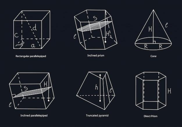Zestaw geometrycznych kształtów. prostokątny równoległościan, ukośny równoległościan, prosty pryzmat, nachylony pryzmat, ścięta piramida, stożek