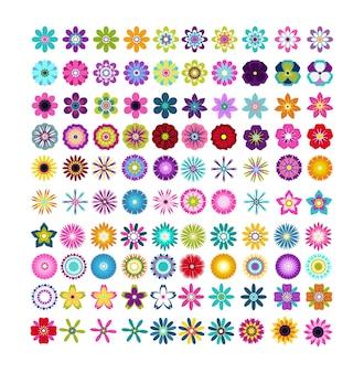 Zestaw geometrycznych kwiatów płaskich wektorowych