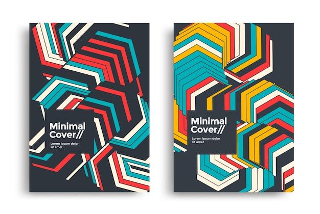 Zestaw geometrycznych plakatów projekt dynamiczne paski wzór tła na okładki ulotek