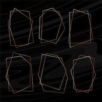 Zestaw geometrycznych złotych ramek