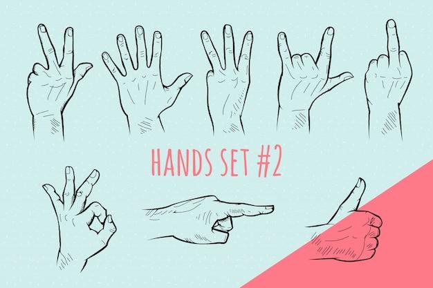 Zestaw gestów dłoni. szkic ołówkiem.