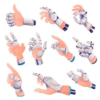 Zestaw gestów ludzkiej dłoni z protezą robota figers