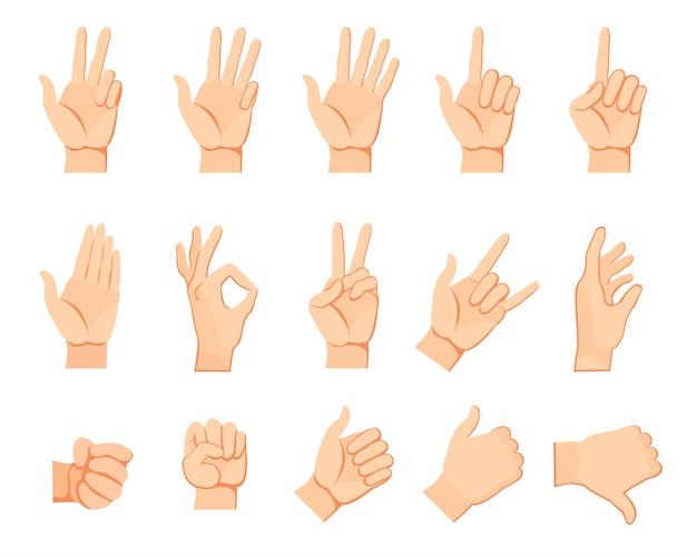 Zestaw gestów ludzkiej ręki