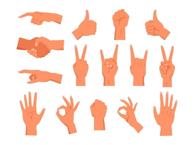 Zestaw gestu dłoni wektor niewerbalny symbol dłoni