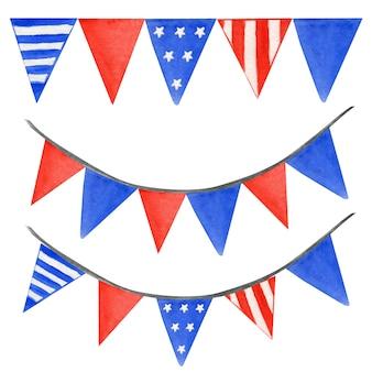 Zestaw girlanda amerykańskiej flagi. dekoracja wisząca na białym tle na 4 lipca patriotyczny wzór w granatowym, jasnoczerwonym kolorze.