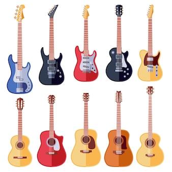 Zestaw gitar akustycznych i elektrycznych
