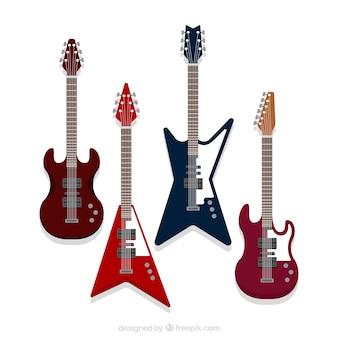 Zestaw gitar elektrycznych o fantastycznych wzorach