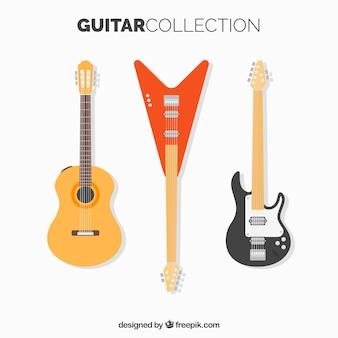 Zestaw gitar w płaskim designie